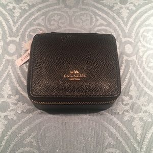 Authentic Coach Crossgrain Leather Jewelry Box
